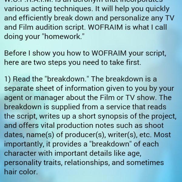 Actor Audition App WOFRAIM